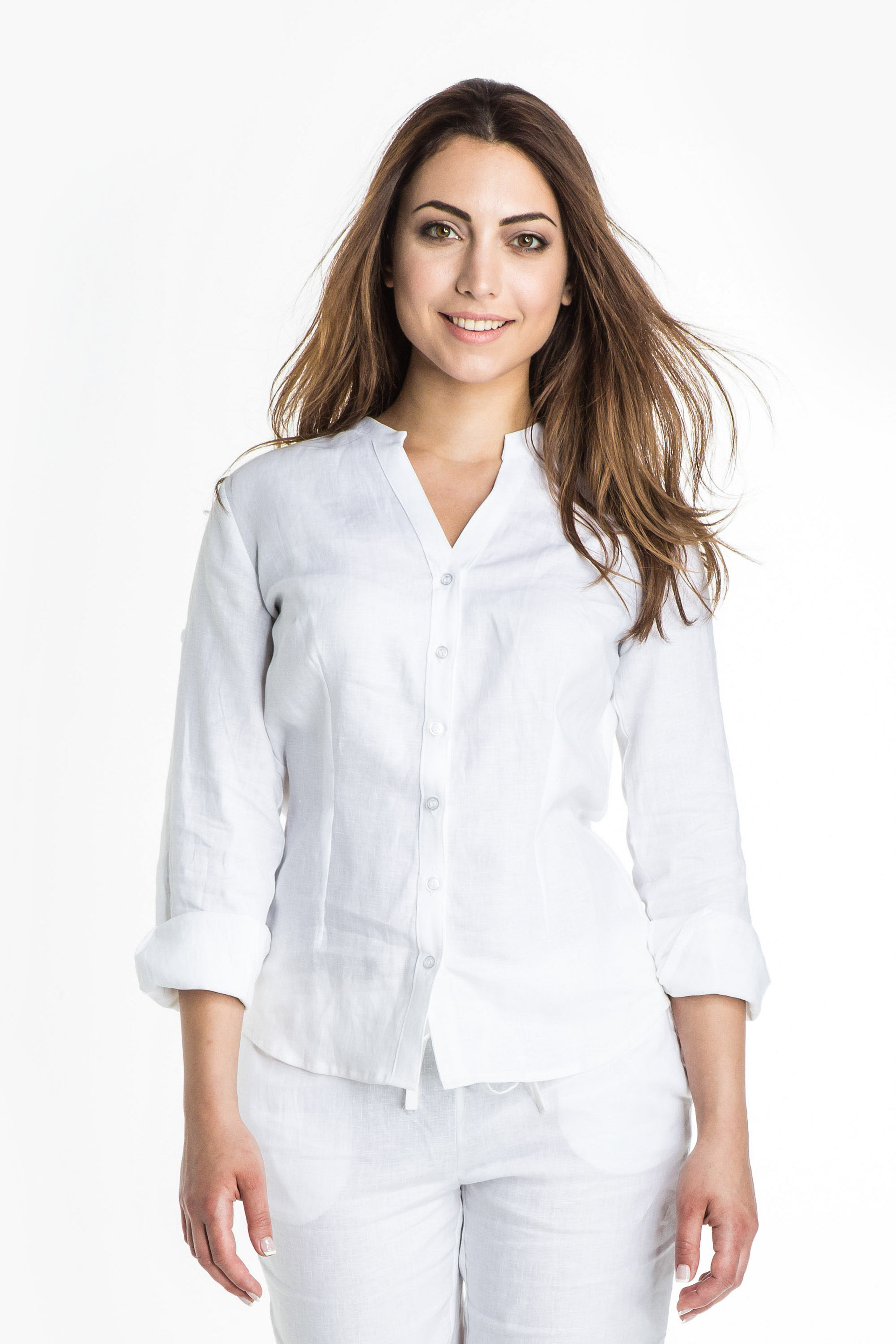 Aris Uniforms-FB19-Long Sleeve Linen Blouse