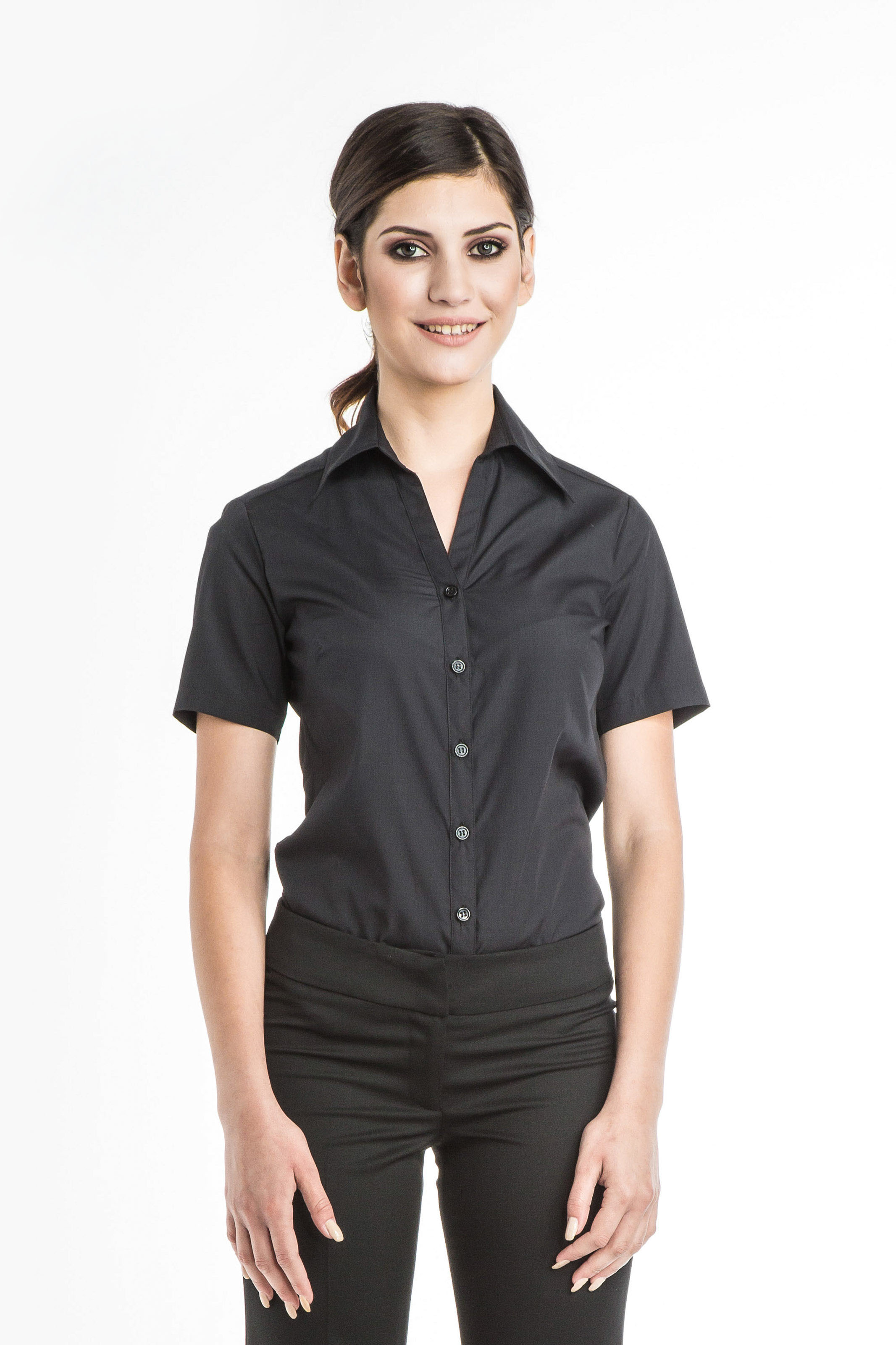 Aris Uniforms-FB01-Short Sleeve Open Collar Blouse