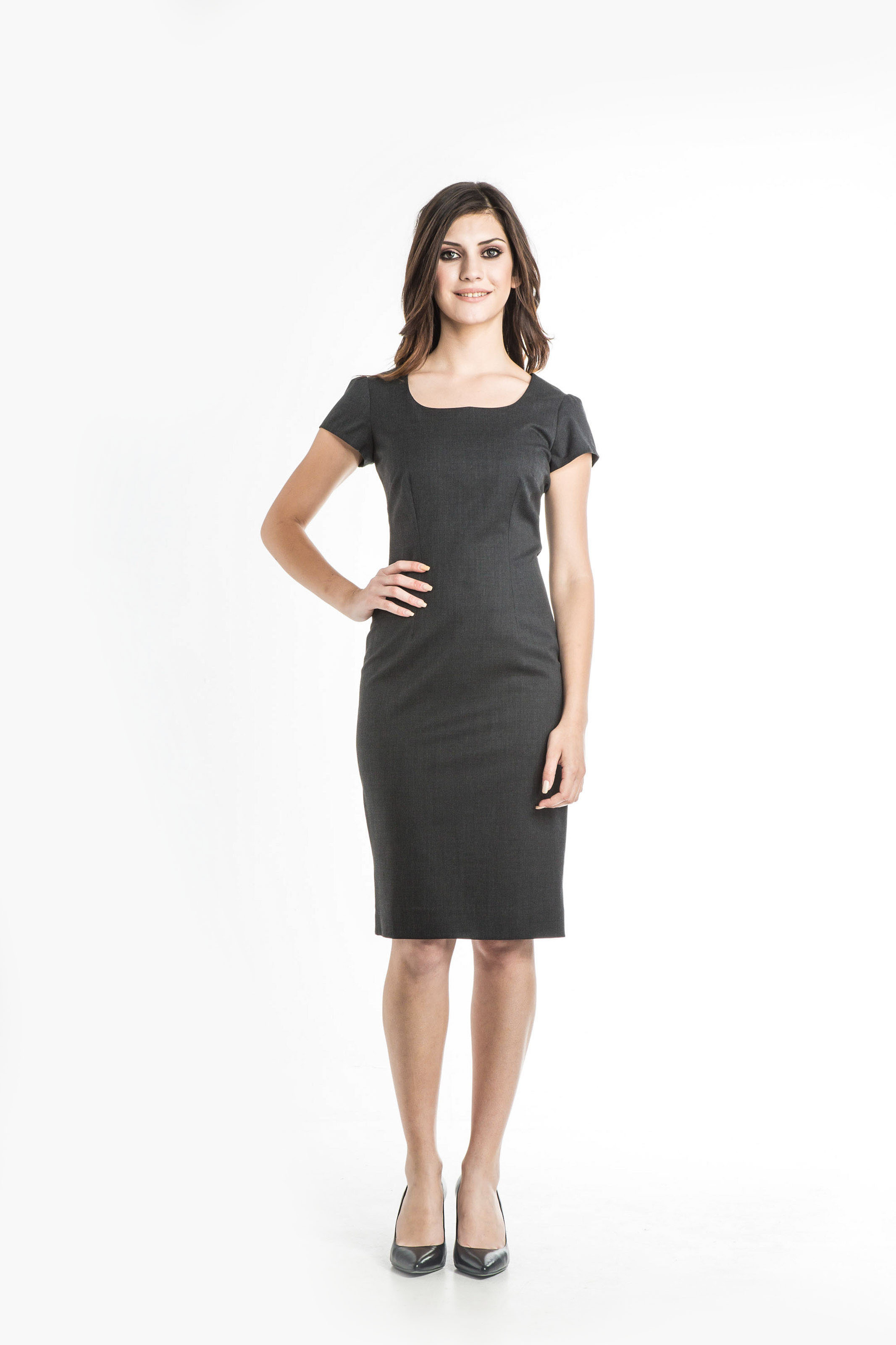 Aris Uniforms-FD08-Puff Sleeve Shift Dress